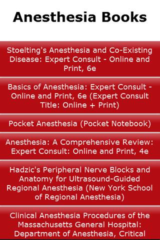 Anesthesia Books