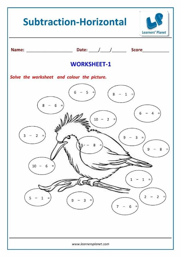 Horizontal Subtraction Worksheets For Kindergarten 8906978 Aks