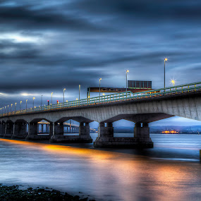 Severn Bridge Crossing by Simon West - Buildings & Architecture Bridges & Suspended Structures ( crossing, england, severn, structure, wales, suspension, night, bridge, photography, river )