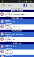 Screenshot of 2016 Holidays Calendar