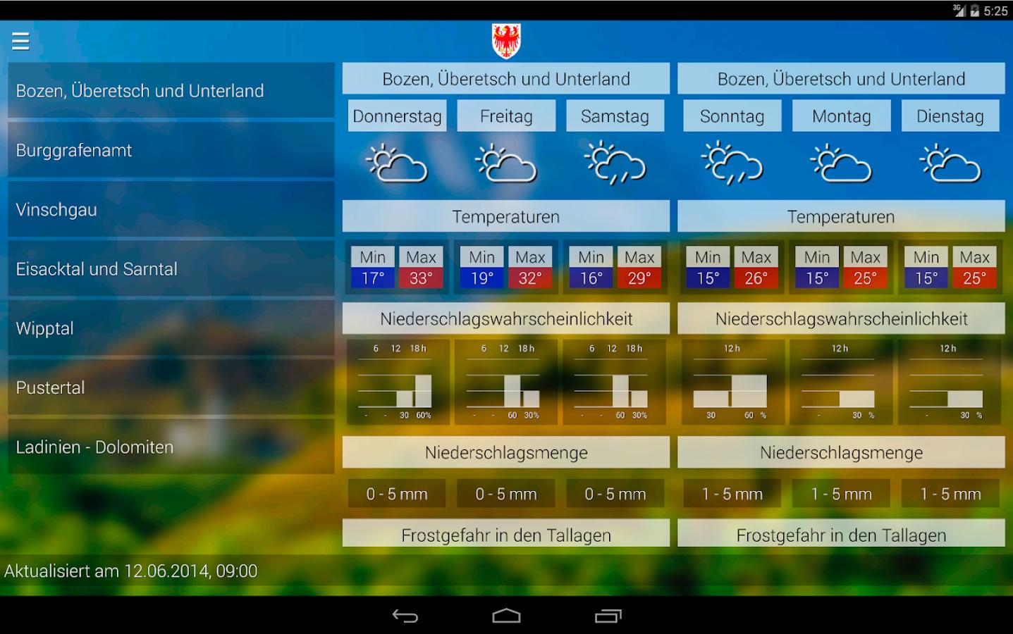 Wetter Südtirol - screenshot
