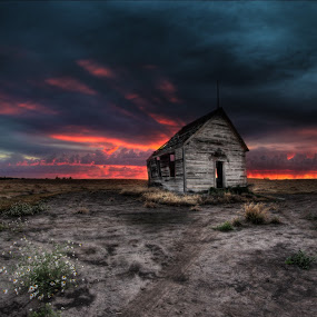 Rain at Sunset by Eric Demattos - Buildings & Architecture Decaying & Abandoned ( school, sunset, storm, rain, abandoned )