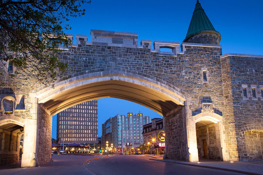 Quebec-fortifications - The historic fortifications of Quebec City stand in contrast to its modern cityscape.