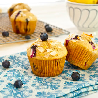 Healthier Blueberry Lemon Muffins.