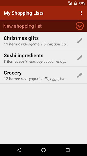 Shopping Lists with widget