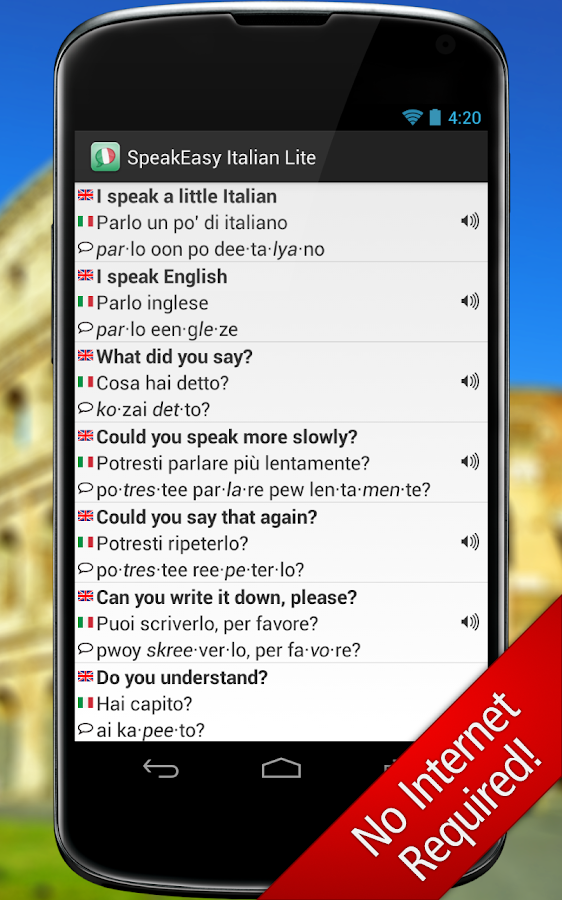 SpeakEasy Italian LT ~ Phrases - screenshot