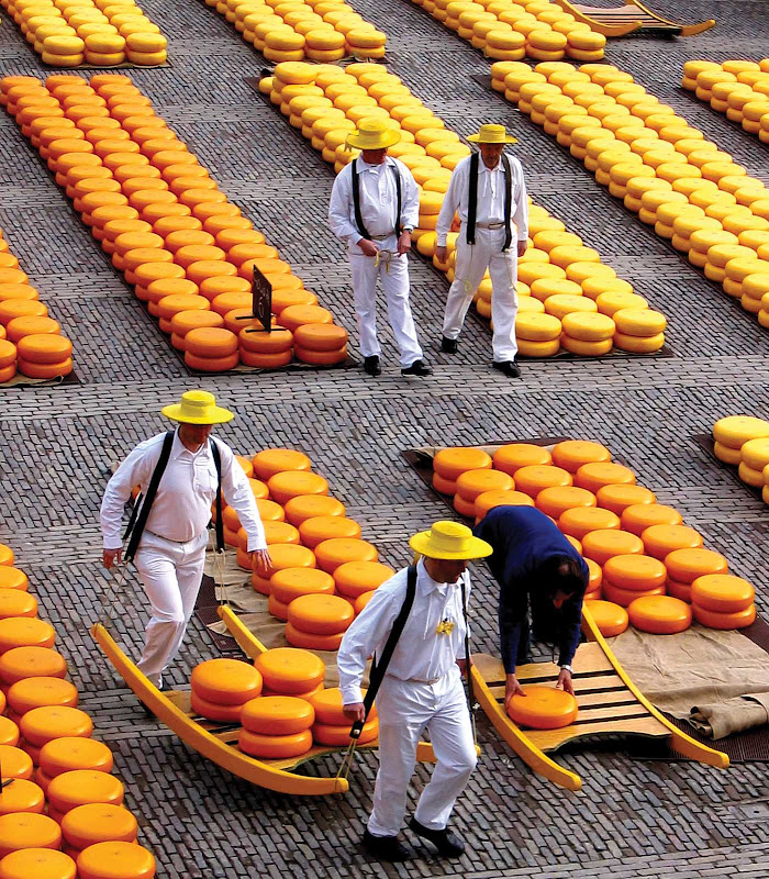 Say cheese: the Kaasmarkt (Cheese Market) in Alkmaar, north of Amsterdam in the Netherlands.