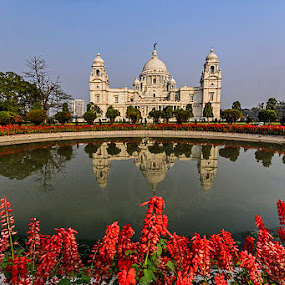 Reflection : The Victoria Memorial by Manabendra Dey - Buildings & Architecture Public & Historical ( reflection, historical buildings, kolkata, d7000, victoria memorila, sigma 10-20mm )