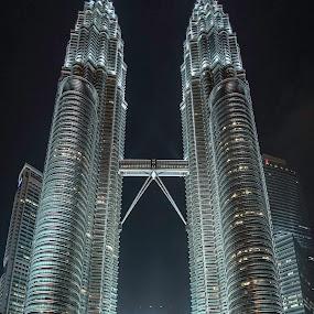 Petronas towers by Annette Flottwell - City,  Street & Park  Night ( midnight, 18mm mf, lenstagger, petronas towers, kuala lumpur,  )