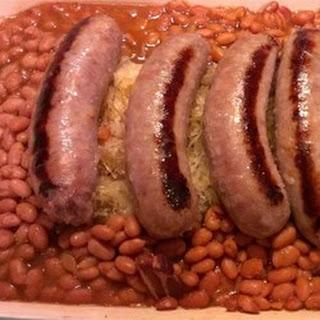 Bratwurst, Sauerkraut and Bean Casserole.
