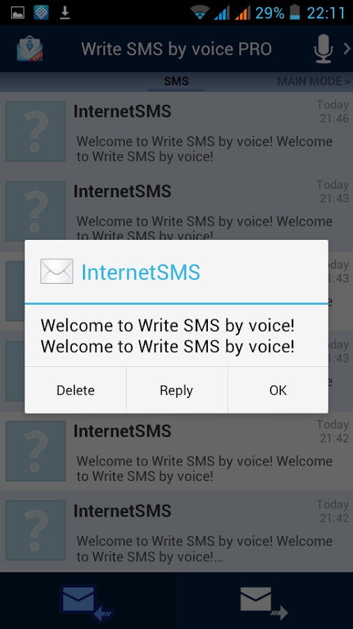 Write SMS by voice PRO - screenshot