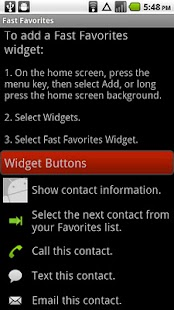 Fast Favorites Widget- screenshot thumbnail