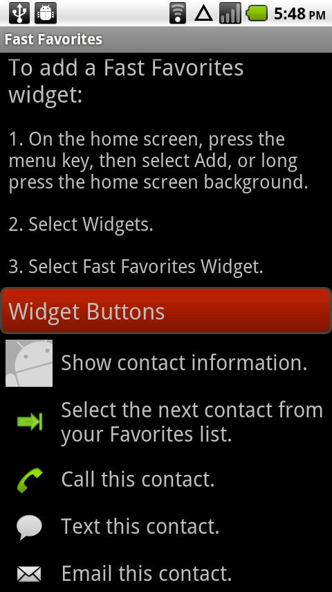 Fast Favorites Widget - screenshot