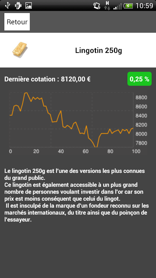 Cours de l'or - gold.fr - screenshot
