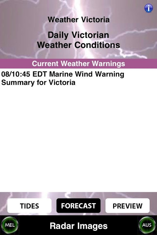 Weather Victoria (Australia) - screenshot