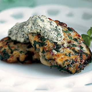 Herbed Fish Cakes with Green Horseradish Sauce.