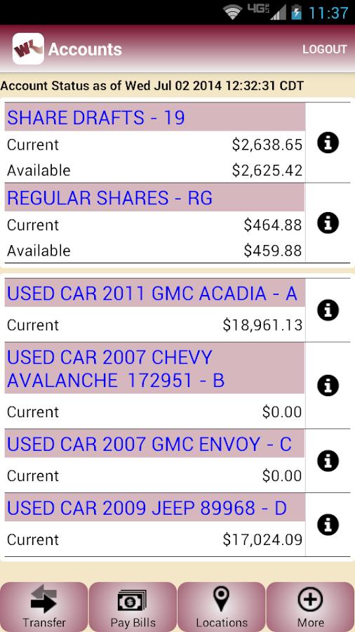 WKFCU Mobile Banking - screenshot