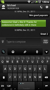 ONE Green GO SMS Theme - screenshot thumbnail