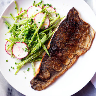 Crispy Rainbow Trout with Snow Pea Salad and Spiced Yogurt Dressing