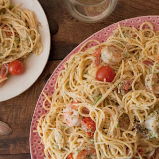 Goat Cheese and Shrimp Pasta.
