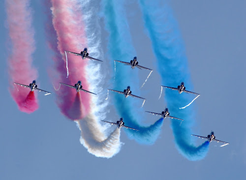 Red Arrows by Doug Faraday-Reeves - Transportation Airplanes ( red arrows, red, vapour, blue, white, display, jets, aerobatic, smoke )