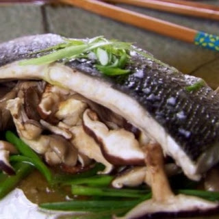 Steamed Sea Bass with Ginger and Mushrooms.