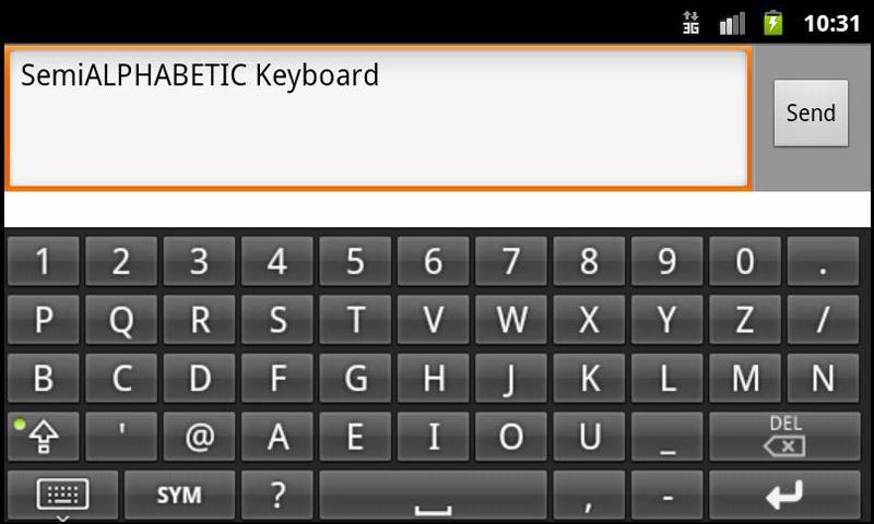 Fast SemiAlphabetical keyboard- screenshot