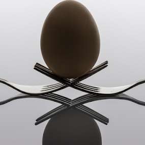 Equilibrium by Ricardo Marques - Artistic Objects Cups, Plates & Utensils ( fork, simetric, shine, egg, kitchen utensil, silverware, cutlery )