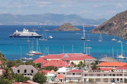 SeaDream II moors off Gustavia, the capital of Saint Barthélemy in the Caribbean.
