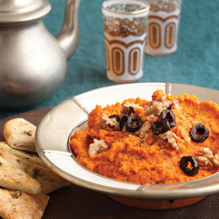 Carrot Dip with Crushed Walnuts and Olives