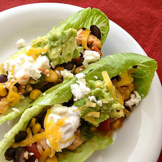 Chipotle Chicken Lettuce Wraps with Black Beans, Corn & Tomatoes.