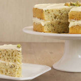 Pistachio Cake with White Chocolate Frosting.