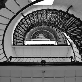 Saint Augustine lighthouse by Lisa Montcalm - Buildings & Architecture Statues & Monuments ( stairs, black and white, lighthouse, st. augustine, spiral,  )