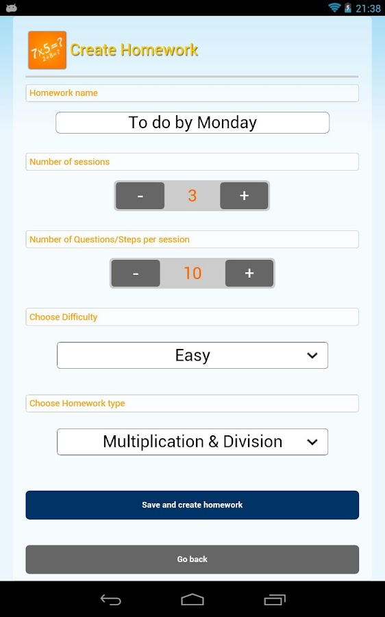 Learning Math - Math Workout - screenshot