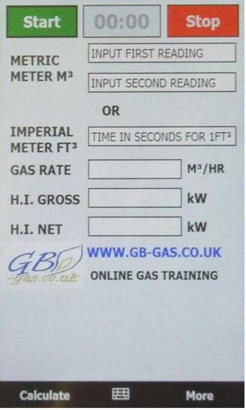 Gb-Gas heat input Calculator - screenshot