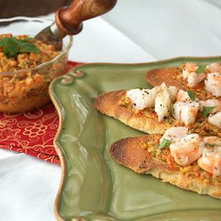 Shrimp Crostini w/ Artichoke Tapenade.