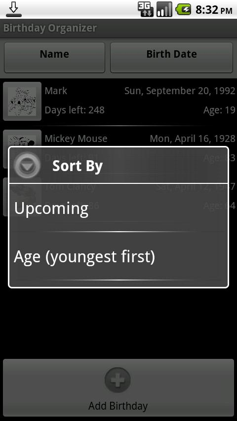 Birthday Organizer - screenshot