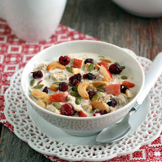 Cashew Bircher Muesli with Apples and Dried Cranberries