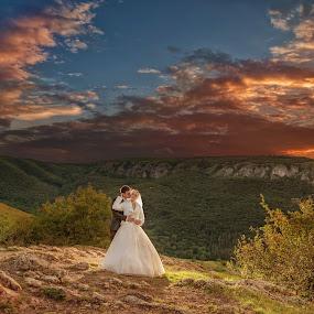 Crazy sunset by Marius Igas - Wedding Bride & Groom ( clouds, wedding, sunset, bride, groom, colours )