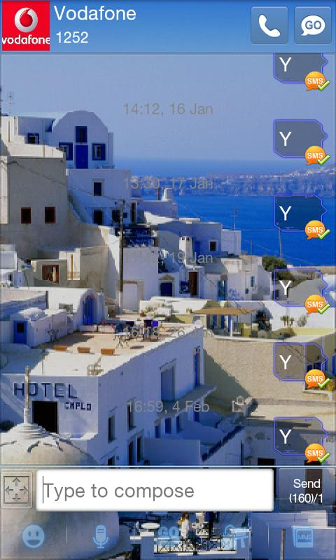 GO SMS Pro Santorini Theme - screenshot