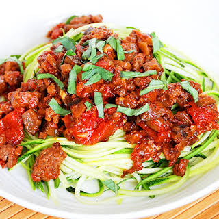 Eggplant Bolognese with Zucchini Noodles (Low Carb).