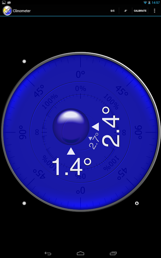 Clinometer  +  bubble level- screenshot