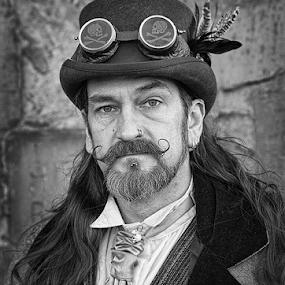 Goth Man by Phil Portus - People Portraits of Men ( b&w, male, white, portrait, man, black,  )