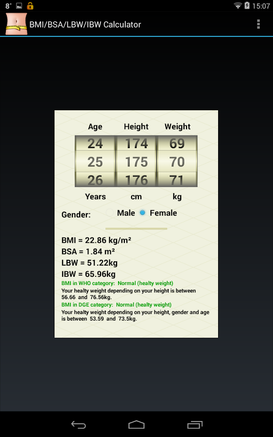 BMI/BSA/LBW/IBW-Healthy Weight- screenshot