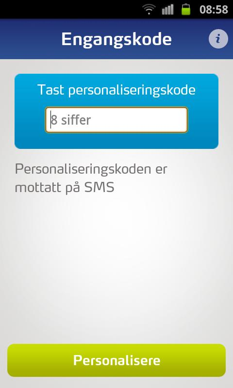 One time password (OTP) - screenshot