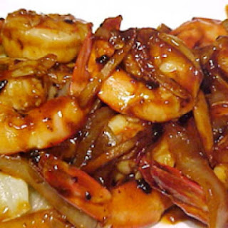 Cantonese Spicy Shrimp With Braised Lettuce.