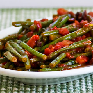 Braised Green Beans with Garlic, Tomatoes, Olives, and Capers.
