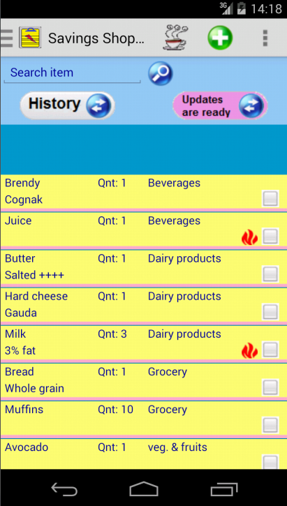 Saving Grocery Shopping List- screenshot