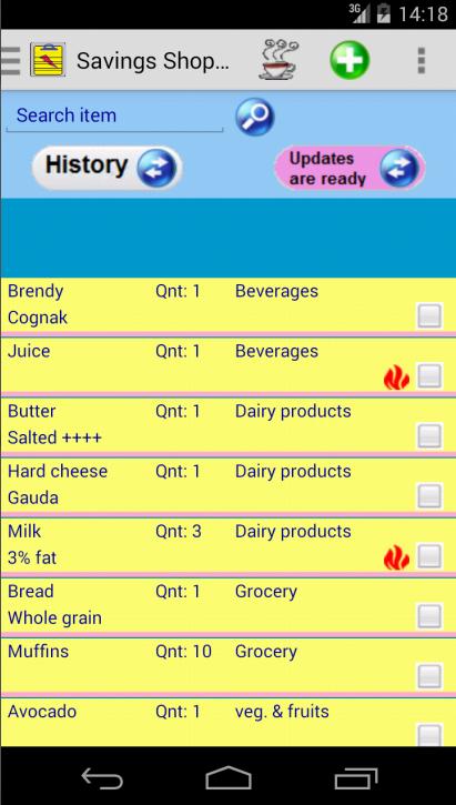 Saving Grocery Shopping List - screenshot