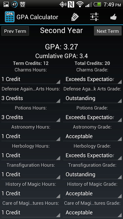 Simple GPA Calculator - screenshot
